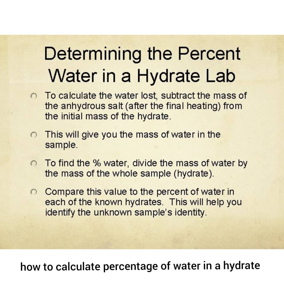 how to calculate percentage of water in a hydrate