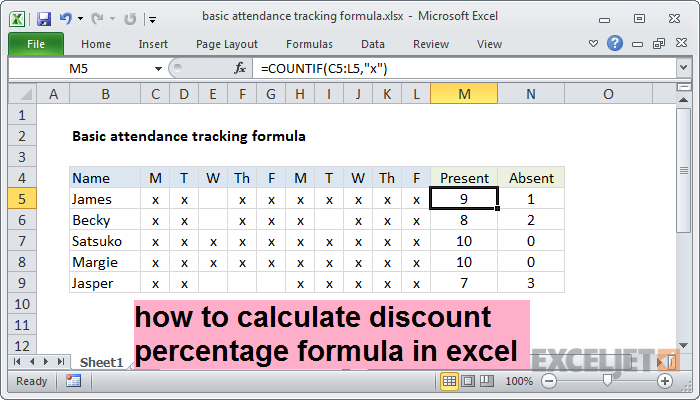how to calculate discount percentage formula in excel