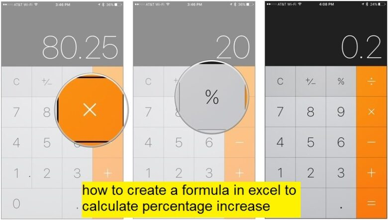 how to create a formula in excel to calculate percentage increase