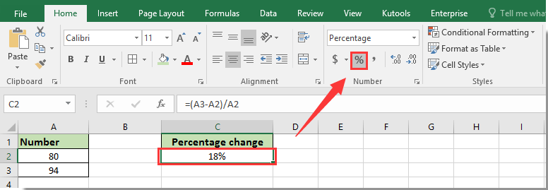 how to put percentage formula in excel 2013