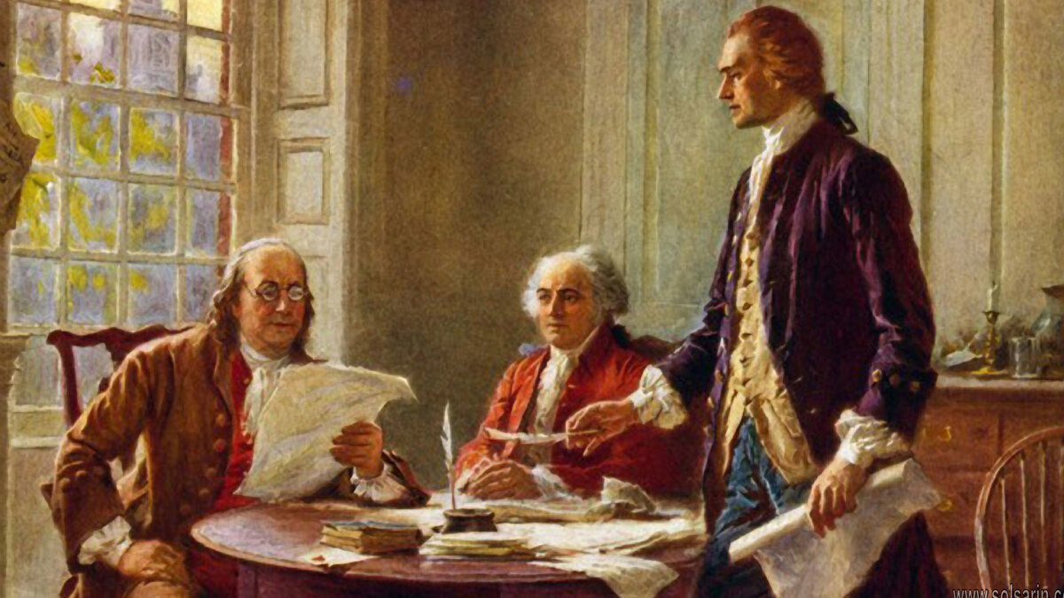 picture of benjamin franklin signing the declaration of independence
