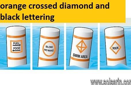 orange crossed diamond and black lettering